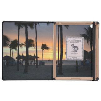 Puesta del sol tropical iPad carcasa
