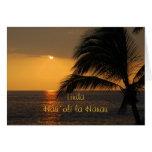 Puesta del sol tropical hawaiana del feliz cumplea felicitacion