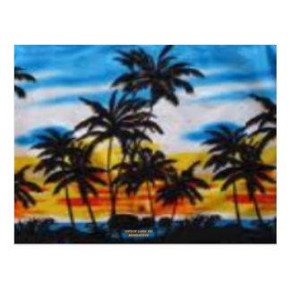 Puesta del sol tropical (impresión de la hawaiana postal