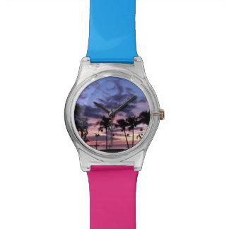 Puesta del sol tropical reloj de pulsera