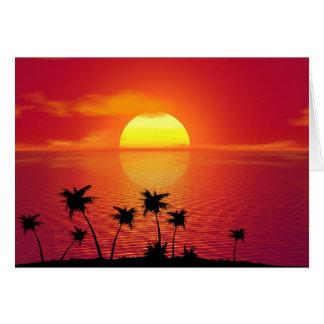 Puesta del sol tropical tarjeta