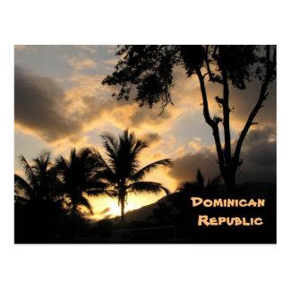 puesta del sol y palmeras postal