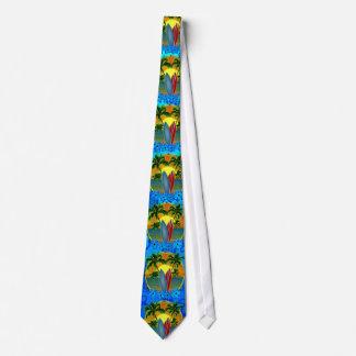 Puesta del sol y tablas hawaianas corbata personalizada