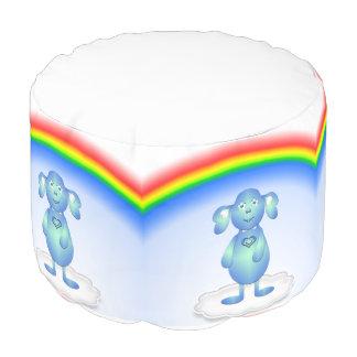 Puf Azul de bebé y el arco iris
