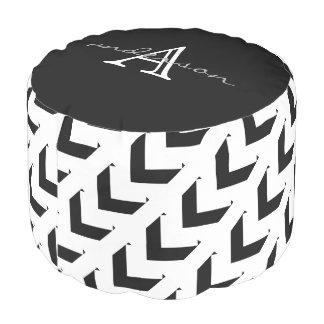 Puf Chevron negro y blanco intrépido, personalizado