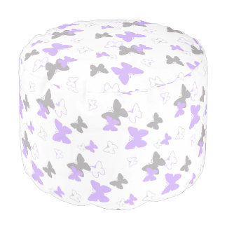 Puf Chica gris gris de la lavanda púrpura de la