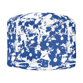Puf Diseño azul floral del estilo francés