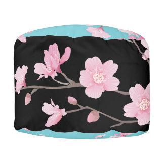 Puf Flor de cerezo - negro