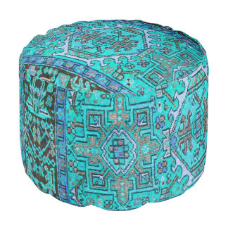 Puf Impresión oriental antigua azul de la alfombra