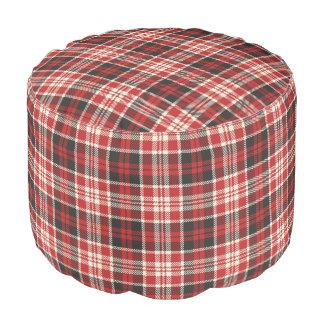 Puf Modelo rojo y negro de la tela escocesa
