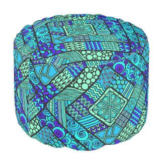 Puf Modelo tribal abstracto azulverde de Boho