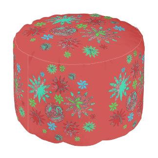 Puf Personalizado multi rojo del taburete redondo
