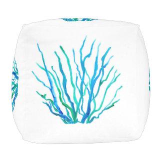 Puf Taburete cubicado hierba azul del mar