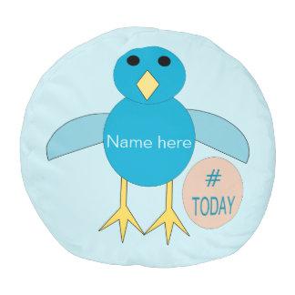 Puf Taburete redondo del cumpleaños del polluelo azul