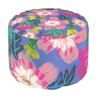 Puf Taburete redondo tejido floraciones rosadas del