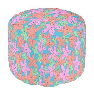 Puf Taburete tropical colorido de las estrellas de mar