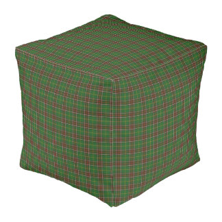 Puf Taburete verde de encargo de la tela escocesa del