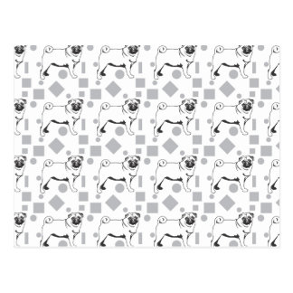 Pug pattern tarjetas postales