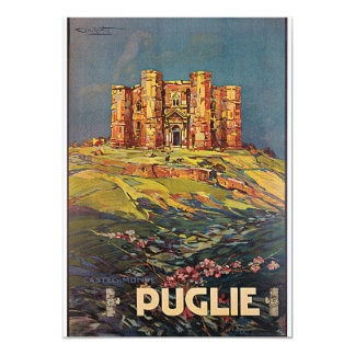 Puglie, viaje de Italia Castel del Monte Vintage Invitación 12,7 X 17,8 Cm