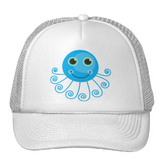 Pulpo azul lindo del dibujo animado gorra