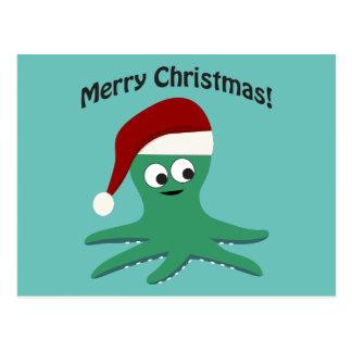 Pulpo de las Felices Navidad Postal