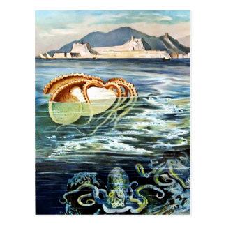 Pulpo del vintage y postal del calamar
