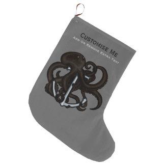 Pulpo negro sobre el ancla calcetín de navidad grande