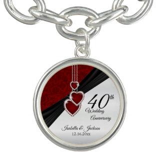 Pulsera 40.o Diseño de rubíes del recuerdo del aniversario