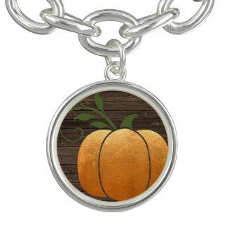 Pulsera Calabaza de madera rústica del otoño del oro