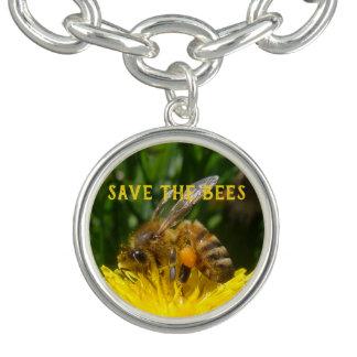 Pulsera Con Dije Ahorre las abejas, produzca los dientes de león
