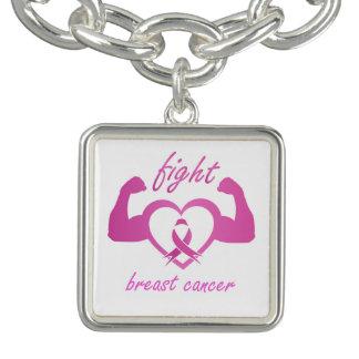 Pulsera Con Dije Doblar los brazos para luchar el cáncer de pecho