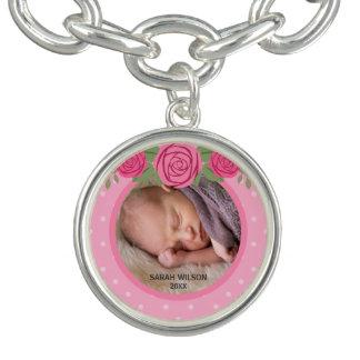 Pulsera Con Dije Foto floral del bebé del rosa rosado del lunar