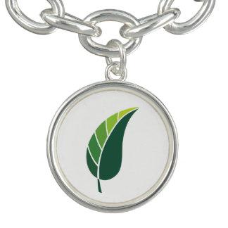 Pulsera Con Dije Icono verde de la hoja