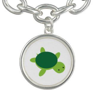 Pulsera con dije lindo del botón de la tortuga
