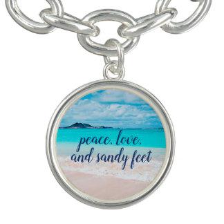 """Pulsera Con Dije Los """"pies de Sandy"""" citan la foto azul de la playa"""