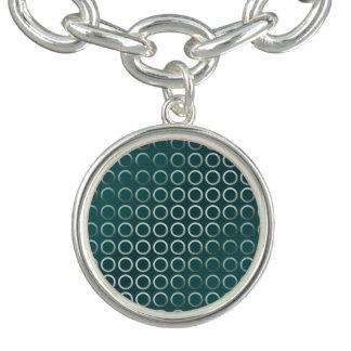 Pulsera Con Dije verde geométrico de plata de la turquesa del