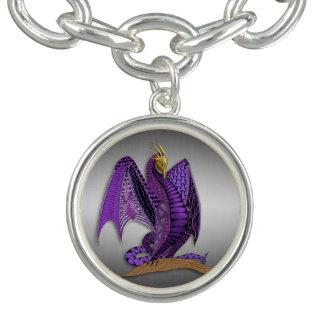 Pulseras Con Dijer Dragón púrpura