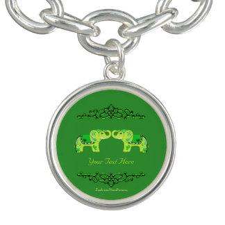 Pulseras Con Dijer Elefante de la alheña (verde/verde lima)