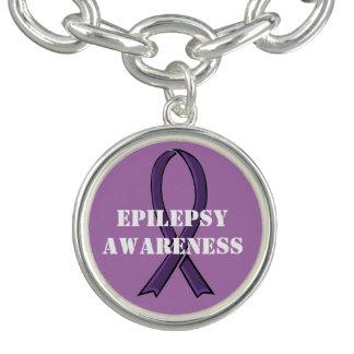 Pulseras Epilepsia púrpura de la cinta