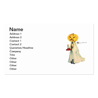 Pumpkinhead (tarjeta de Halloween del vintage) Plantilla De Tarjeta De Negocio
