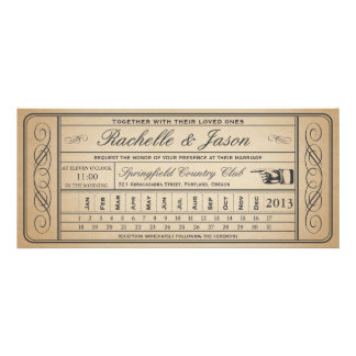 Punchout del boleto II del boda del vintage Anuncios Personalizados