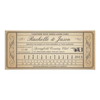 Punchout del boleto II del boda del vintage Invitación 10,1 X 23,5 Cm