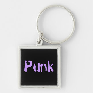 Punk Llavero Cuadrado Plateado