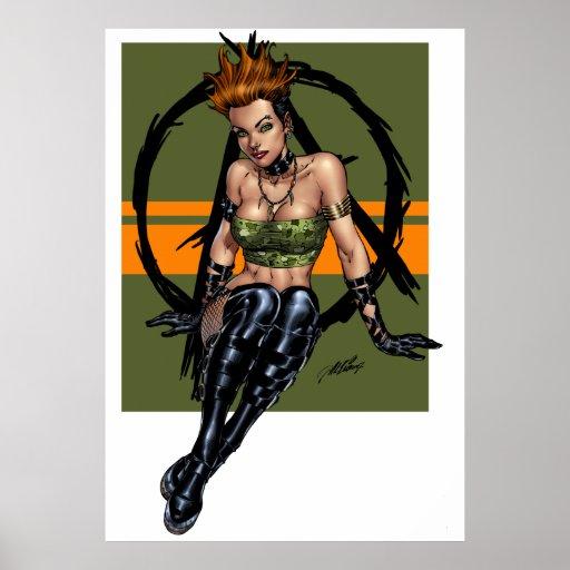 Punk y chica modelo alternativo en verde por el Al Impresiones