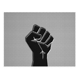 Puño de la solidaridad en estilo de la fibra de postal