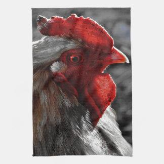Punto rojo del color del gallo paño de cocina