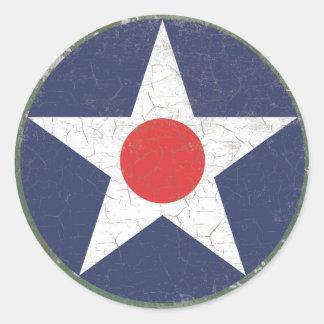 Punto rojo rústico de Roundel de la estrella Etiqueta Redonda