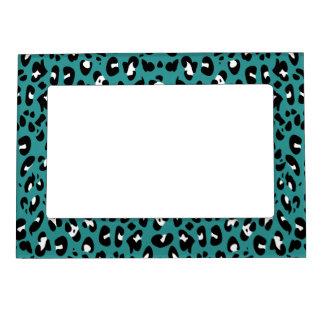 Puntos blancos del leopardo del negro azul del tru marcos magneticos de fotos