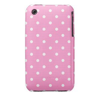 Puntos blancos, modelo de lunares rosado iPhone 3 fundas