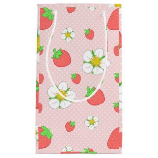 Puntos de la fresa en rosa bolsa de regalo pequeña